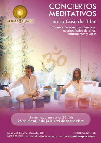 Conciertos de meditación con cuencos de cuarzo y minerales acompañados de otros instrumentos y voces
