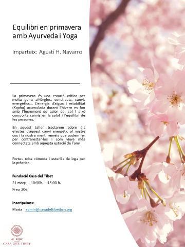 "Taller ""Equilibri en primavera amb Ayurveda i Yoga"""