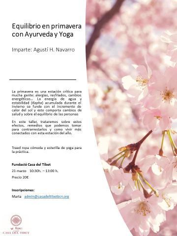 Taller 'Equilibrio en primavera con Ayurveda y Yoga'