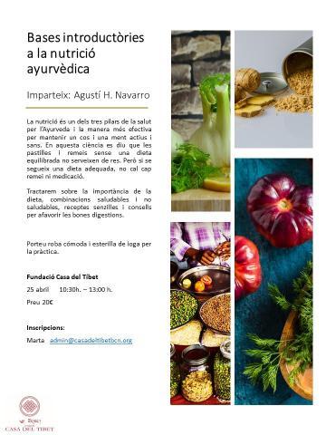 """Taller """"Bases introductòries a la nutrició ayurvèdica"""""""