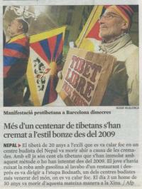 LA VANGUARDIA: Más de un centenar de tibetanos se han quemado a lo bonzo desde el 2009