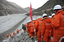 Rescuers on Saturday headed to the disaster site to search through debris at a gold mine after a mudslide in the Gyama Valley in Tibet on Friday buried 83 people.