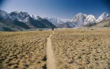 VIstas de los montes Kala Pattar, Thamserku y Tawoche, en la región de Solu Khumbu, en Nepal